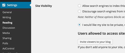 Making a WordPress.com site private