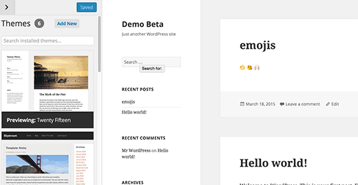Theme Switching in WordPress 4.2