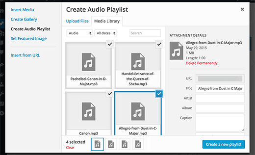 Creating audio playlist in WordPress