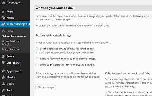 Bulk edit featured images in WordPress