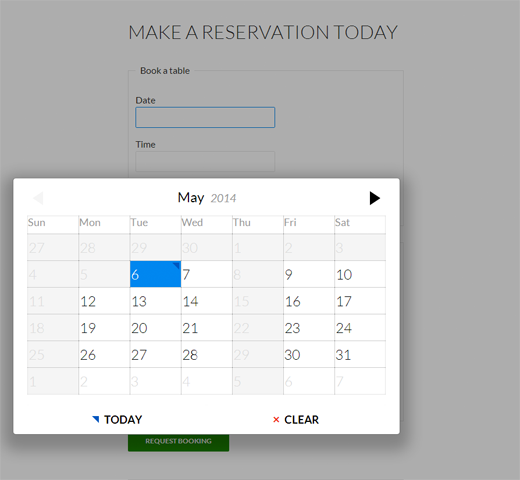 WordPress Restaurant Reservations Preview