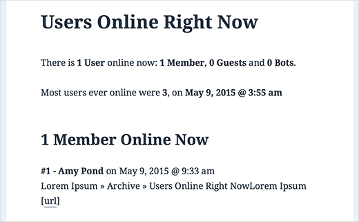 Users online right now on a WordPress site