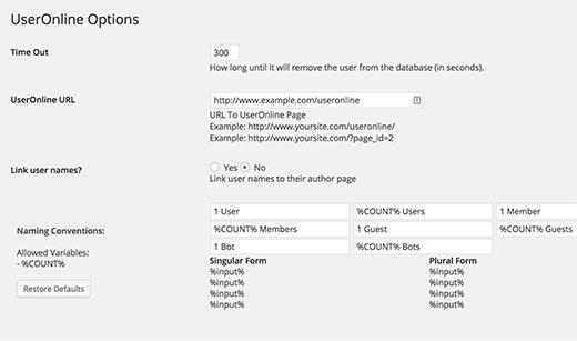 Users Online plugin settings