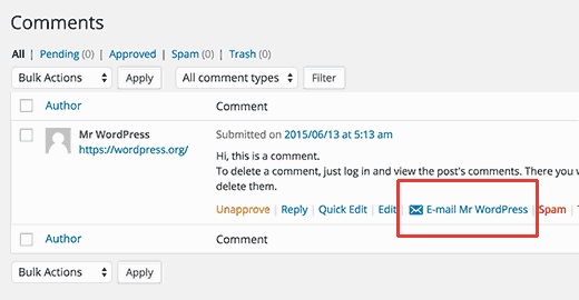Email Comment Author