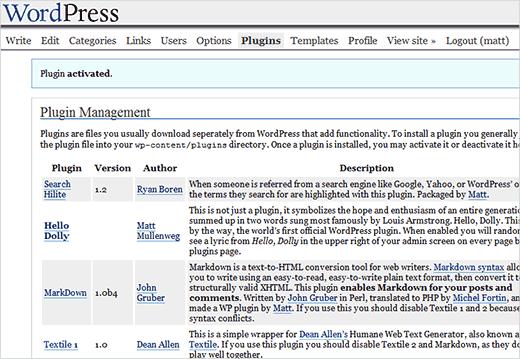 First WordPress plugins screen