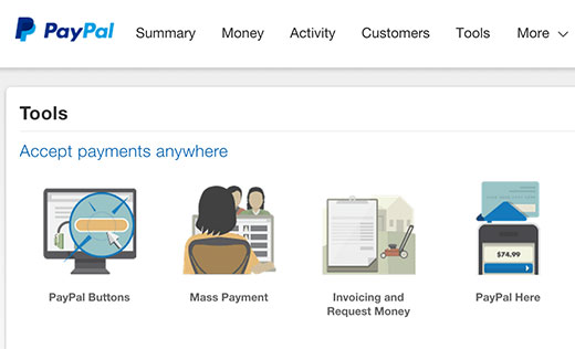 PayPal Buttons under the tools section