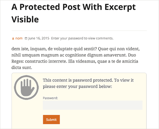 Showing excerpt for a password protected post in WordPress