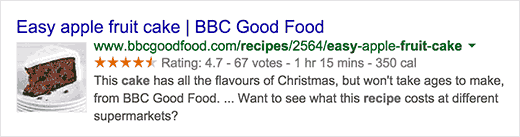 A recipe in search results with rich snippets data