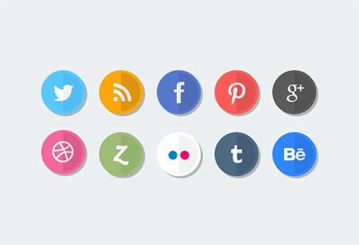 Flat social media icon set