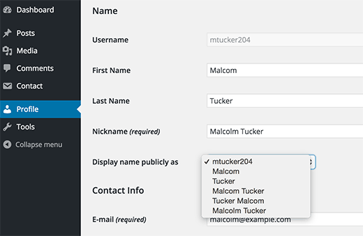 Adding your first and last names or a nickname in WordPress
