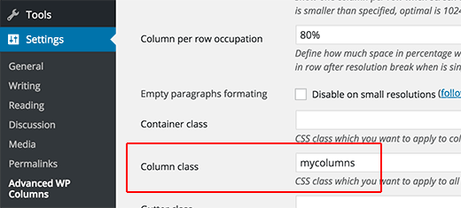 Adding CSS class for your columns