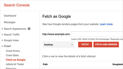 Fetch and render a page as Googlebot