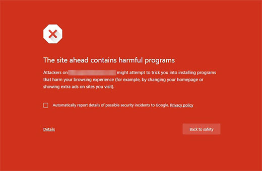 This site contains harmful programs error in Google Chrome
