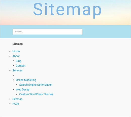HTML sitemap showing only WordPress pages