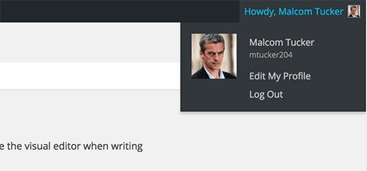 Full name used in WordPress admin area