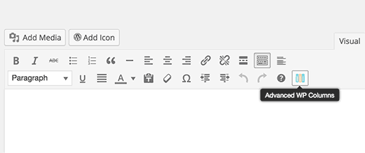 Advanced columns and svg icon buttons in post editor