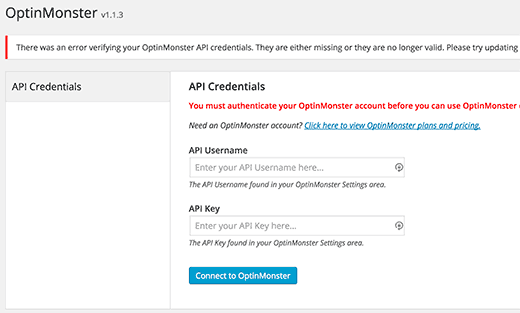 OptinMonster API Credentials