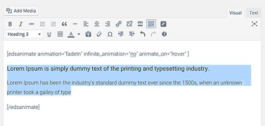 CSS animateit! shortcode in post editor