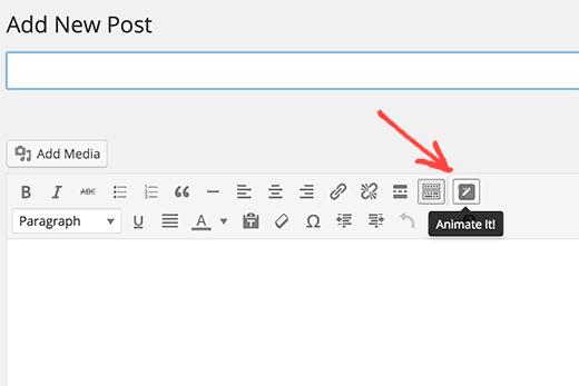 Animate it button in WordPress visual editor