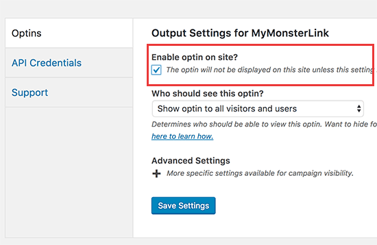 Enable optin on your website
