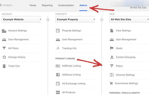 Filter menu in Google Analytics admin