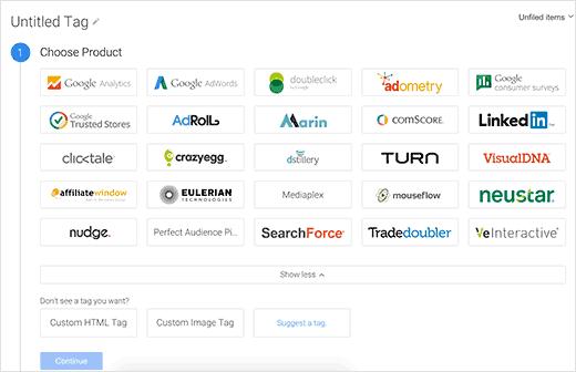Choisissez Google Analytics comme produit de votre journée