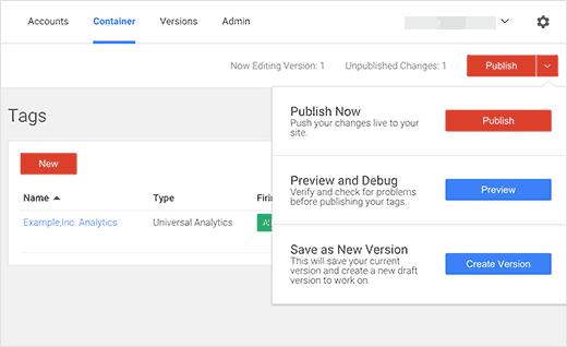 Publiez vos modifications dans Google Tag Manager