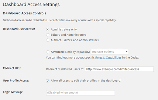 Limit dashboard access