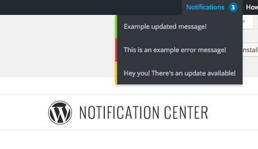WordPress Notification Center
