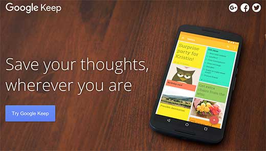 Google Keep is a great app to write down your post ideas