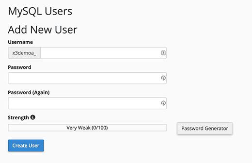 Adding a new MySQL user
