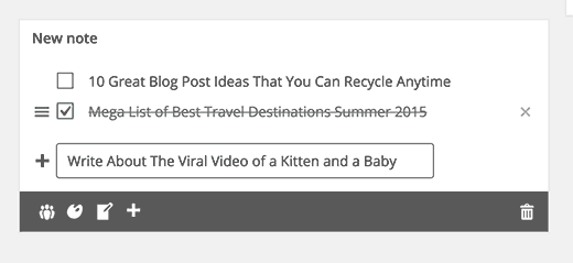Note widget in WordPress dashboard to save post ideas