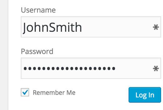 Remember me checkbox on the WordPress login screen