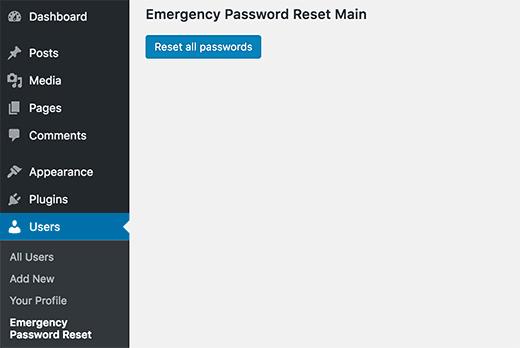Reset all passwords in WordPress