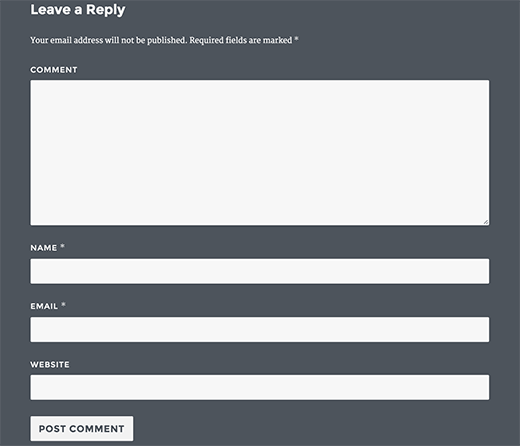 New comment form output displays textarea first and then name, email, and website fields in comment form
