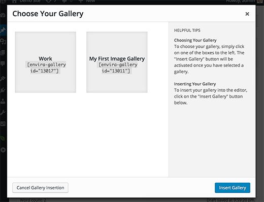 Choose gallery you want to insert