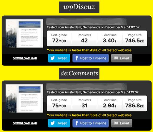 wpDiscuz vs De:Comments speed