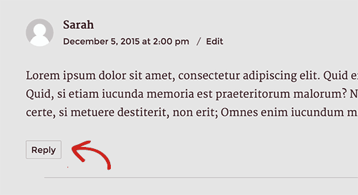 Comment reply button below a comment in a WordPress post