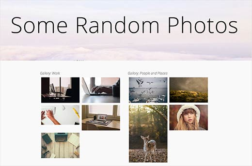 A WordPress page with two image galleries