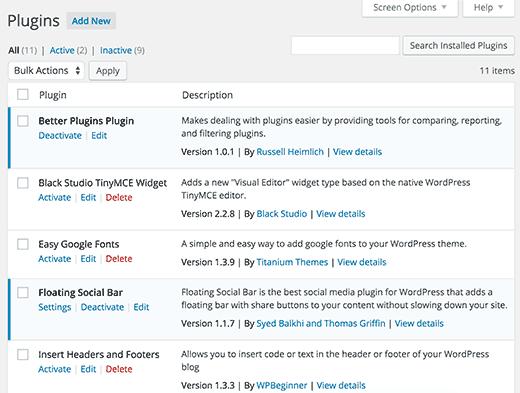 Default plugins screen in WordPress