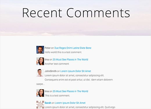 A recent comments page on a WordPress site