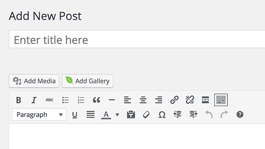 Add gallery to a post or page