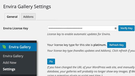Envira Gallery settings page