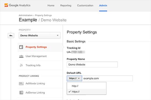Changing default URL in Google Analytics