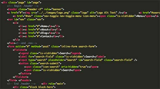 HTML code behind a static HTML site