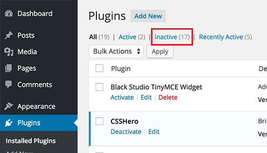 Inactive Plugins