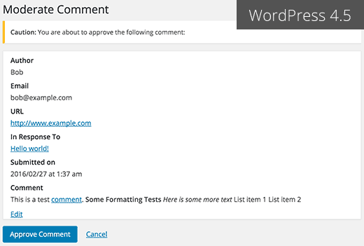 Moderate comment screen in upcoming WordPress 4.5