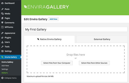 Creating a new Envira Gallery