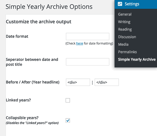 Simple yearly archive settings