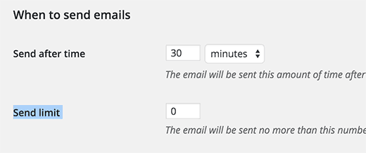 When to send emails